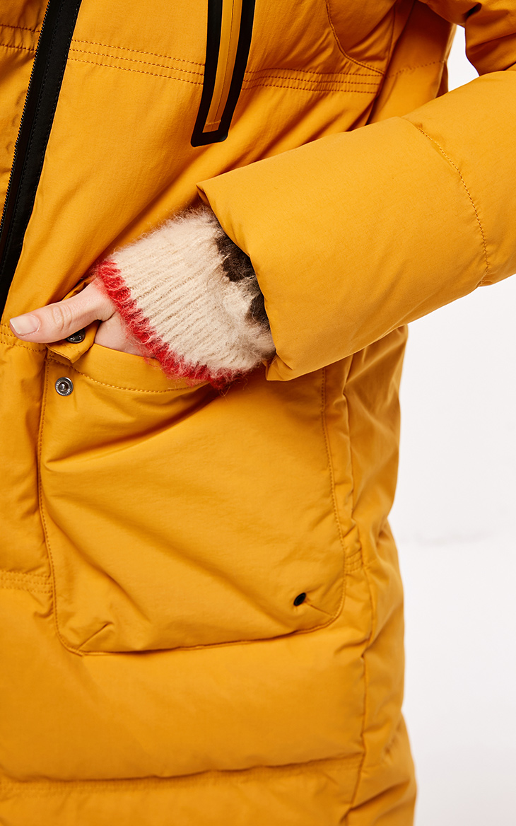 Tylko damska jesień przekątna Zip długa kurtka puchowa z kapturem   118312522