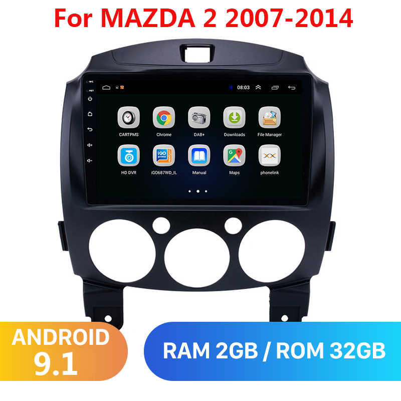 9 Inch Android 9.1 2 Din Dvd Auto Multimedia Video Player Voor Mazda 2 2007-2014 2din Autoradio Gps navigatie Stereo Radio Wifi