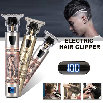 2021 T9 elektryczna maszynka do włosów golarka akumulatorowa trymer do brody golarka elektryczna dla mężczyzn 0mm mężczyźni fryzjer ścinanie włosów maszyna dla mężczyzn tanie i dobre opinie CN (pochodzenie) Hair Trimmer trymer do włosów metal tube D1223401 3hours 120min boxed professional hair clipper wahl