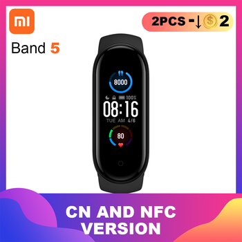 Xiaomi Mi Band 5 NFC Smart Bracelet 4 Color AMOLED Screen Miband 5 Smartband Traker Bluetooth Sport Waterproof Smart Band