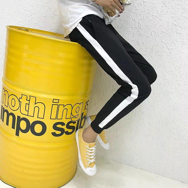 Spring Summer Men Capri Casual Pants Slim Fit Ankle Banded Pants Korean-style Trend Versatile Harem Pants Black 9 Points Pants