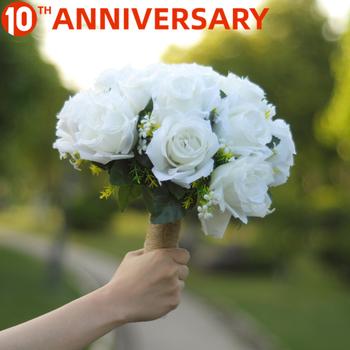 OLLYMURS kwiaty ślubne bukiety ślubne biała róża wysokość 10 23 cala szerokość 5 cali waga 0 245kg akcesoria ślubne tanie i dobre opinie Pościel spandex 10 23inchinch 5inchinch Bukiet ślubny 0 245kgkg