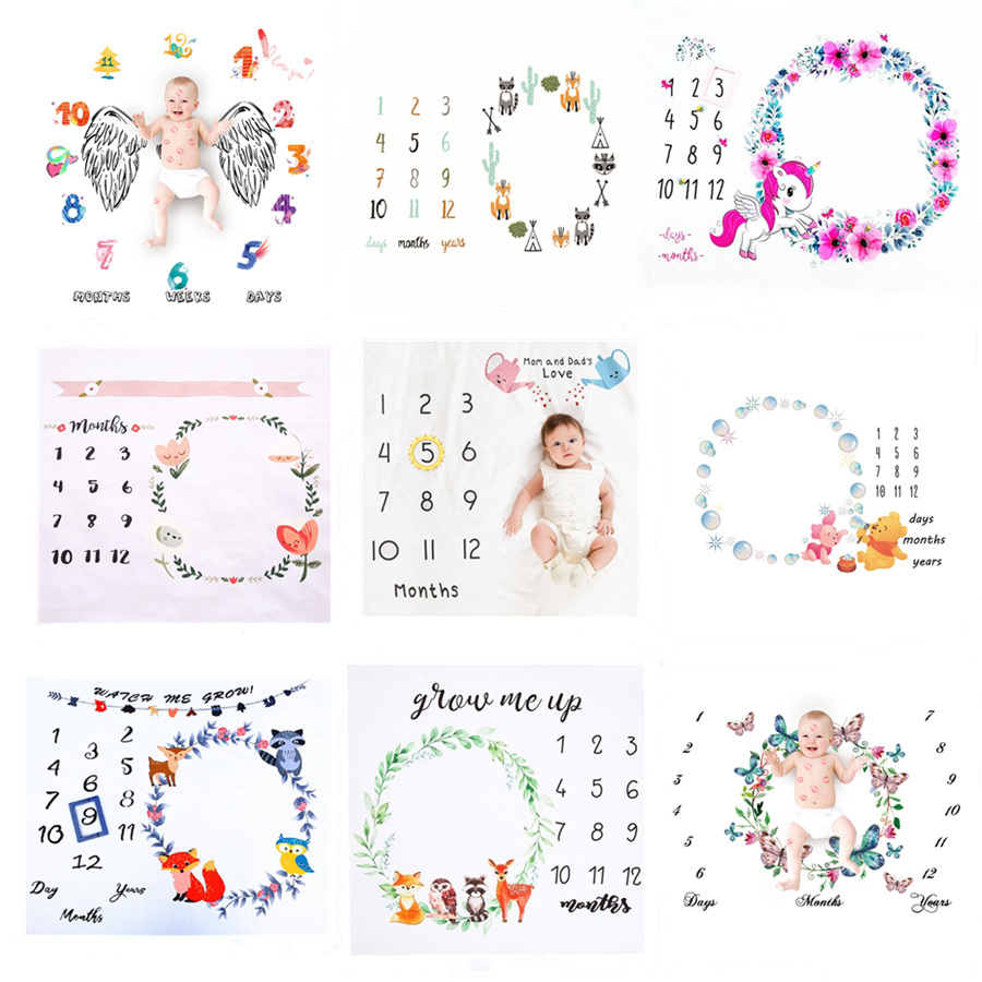 Baby Monthly Milestone Photo Props Background Blankets Baby Play Mats Backdrop Calendar Photography Accessories