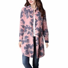 Fashion Floral Print Long Sleeve Shirt Cotton Linen Blouses Korean Casual Women Top With Pockets x