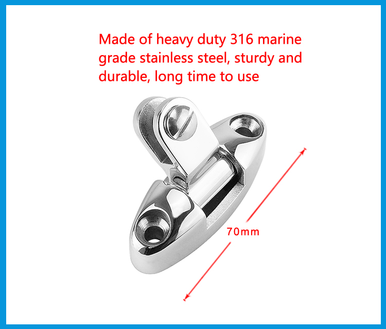 Stainless Steel Boat Bimini Top Swivel Deck Hinge with Rubber Pad 2x Pin