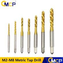 Tap-Drills Screw-Tap Titanium-Coated Spiral-Thread Metric Steel HSS CMCP High-Speed M6/M8