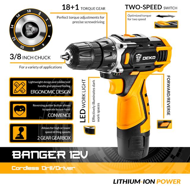 DEKO New Arrival Banger 12V 16V 20V Cordless Drill Electric Screwdriver Mini Wireless Power Driver DC Lithium-Ion Battery 3/8-In