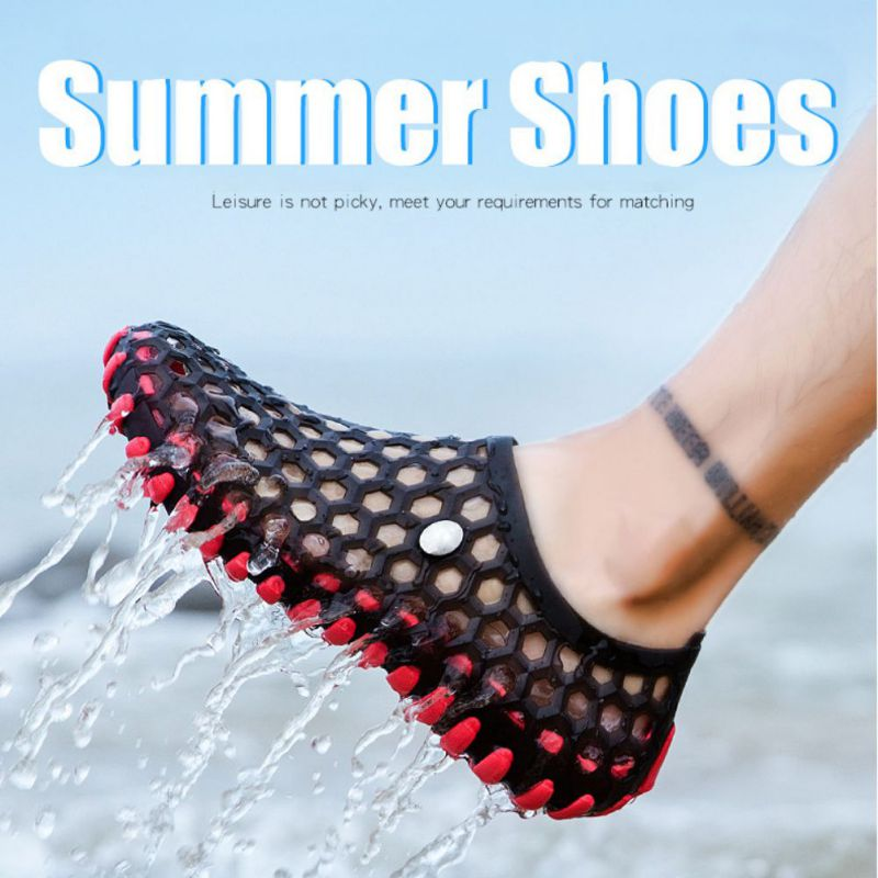 2019 Hot Fashion Summer Shoes Men Beach Shoes Hollow Lightweight Breathable Sandals Men Anti slip Slip On Outdoor Beach Sandals in Beach Outdoor Sandals from Sports Entertainment