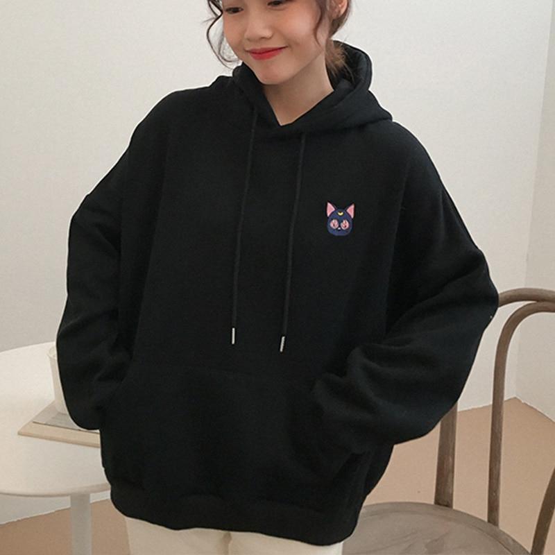 Women's Sweatshirts Embroidered Moon Cat Pink Hoodies Female Kawaii Korean Style Loose Sweatshirt Hooded Pullovers 2019 Autumn