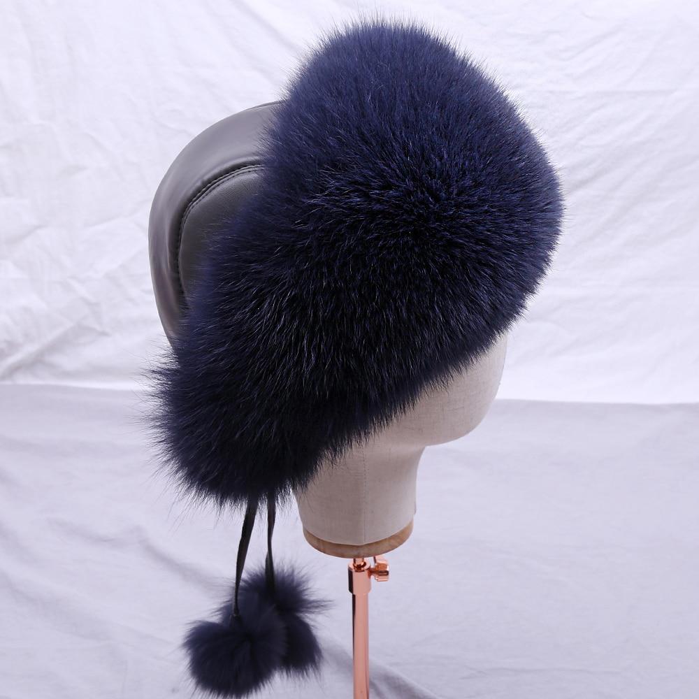 SUPPEV&STTDIO Real Fox Fur Women's Russian Ushanka Aviator Trapper Snow Skiing Hat Caps Earflap Winter Bomber Silver Fox Fur Hat