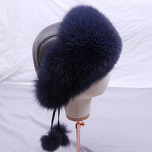 SUPPEV&STTDIO Real Fox fur Womens Russian Ushanka Aviator trapper snow skiing Hat caps earflap winter Bomber Silver fox hat