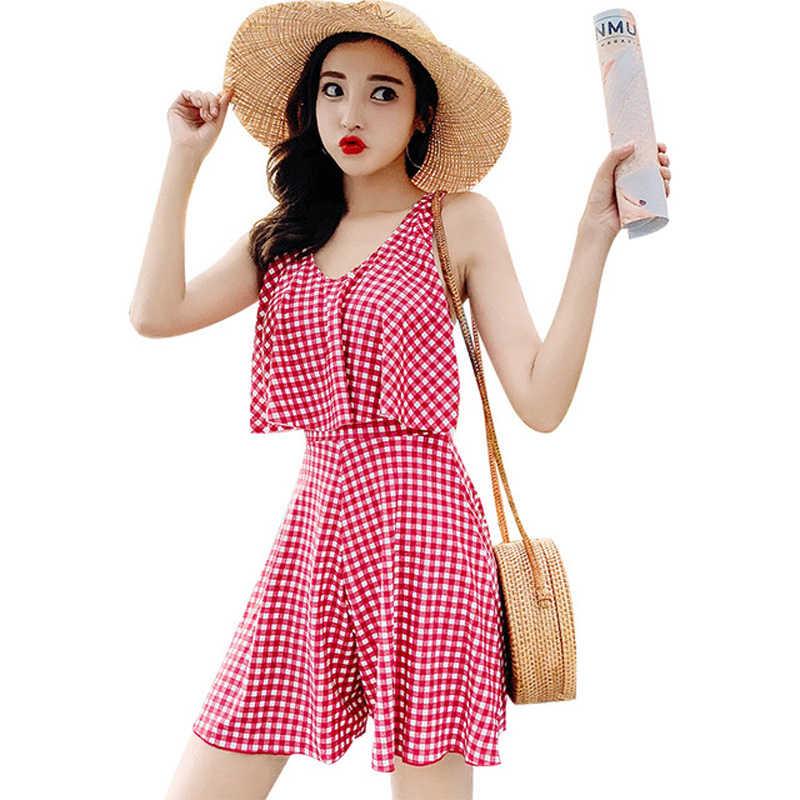 2019 цельный консервативный купальник женский двойной ремень купальник юбка весеннее платье со съемным подкладом пляжная одежда Боксер низ