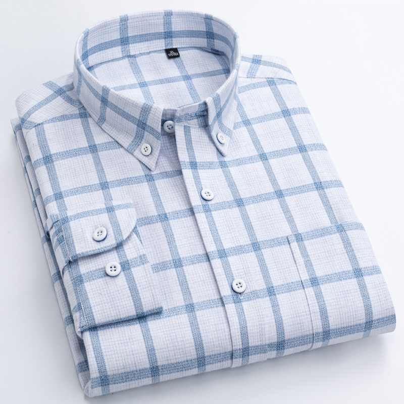Men's 100% Cotton Casual Brushed Check Shirt Single Patch Pocket Long Sleeve Standard-fit Thick Button-down Collar Plaid Shirts