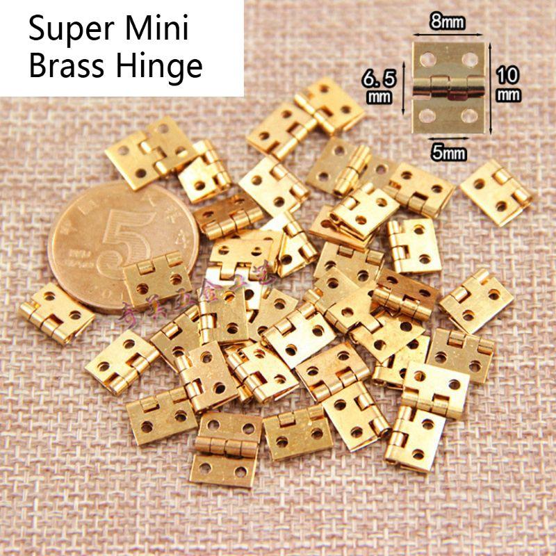 50 шт., медный Супер Мини Складной шарнир, деревянная шкатулка для ювелирных изделий, деревянная дверь для кукольного домика, петля, металлич...