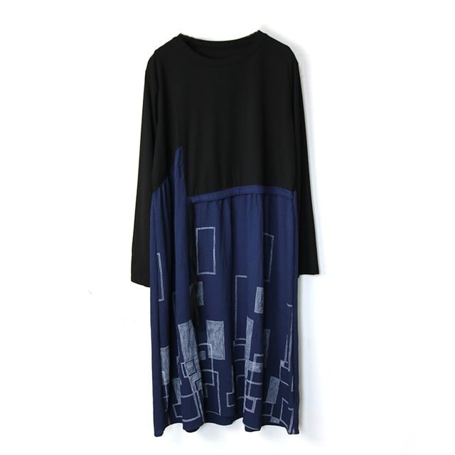 Autumn Plus Size Dress O Neck Drawstring Waist Hugging Patchwork Geometric Printing Loose Loose Dresses for women 3