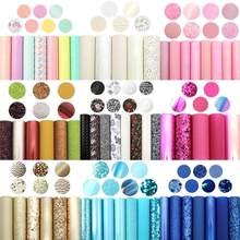 David acessórios 6-8 pçs/set 20*33cm arco-íris conjunto de couro sintético diy arco saco tecido de couro falso decoração para casa, 1yc10688