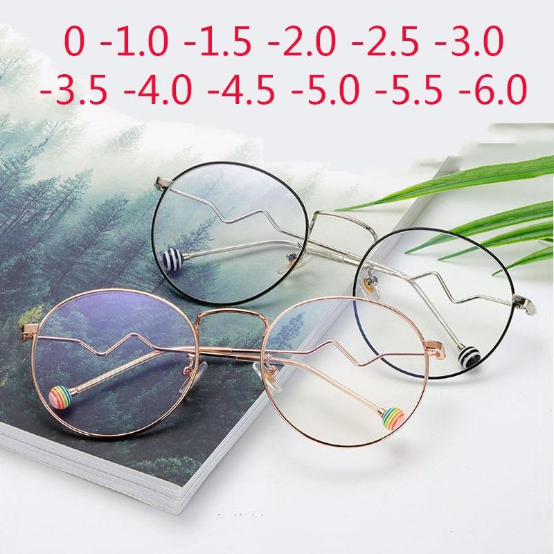 Myopia-Glasses Anti-Blue-Light Ultralight Shortsighted Metal Finished Women Round Retro