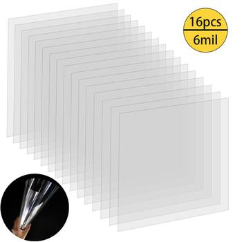 (16 PCS) 6 Mil Blank Stencil Material - Clear Mylar Template Sheets 12 x 12 Inches Acetate Film Plastic Sheets for Making Craft 60 pieces blank boards plywood sheets for crafts models