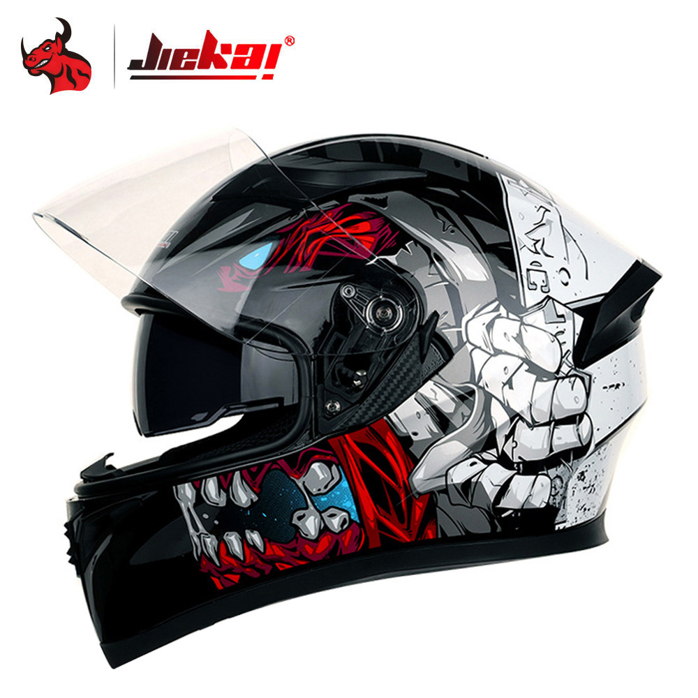 JIEKAI Full Face Motorcycle Helmet Casco Moto Washable Lining Double Visor Motocross Helmet Motorbike Capacete Moto Helmets #