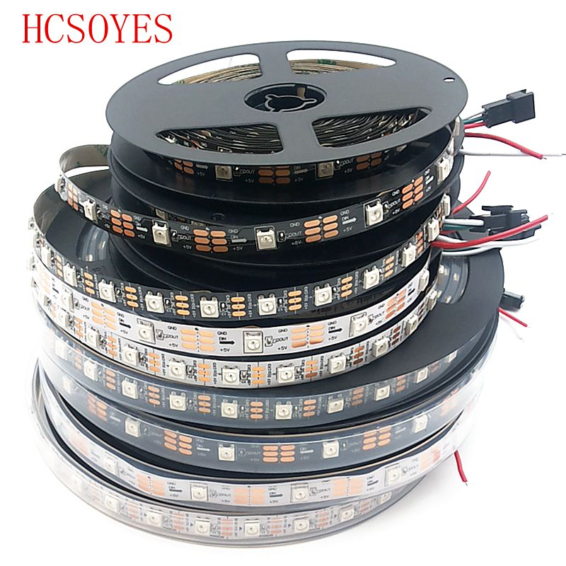 1m/5m WS2812B 30/60/144 Pixels/leds/m Smart Led Pixel Strip,Black/White PCB,WS2812 IC;WS2812B/M,IP30/IP67 DC5V