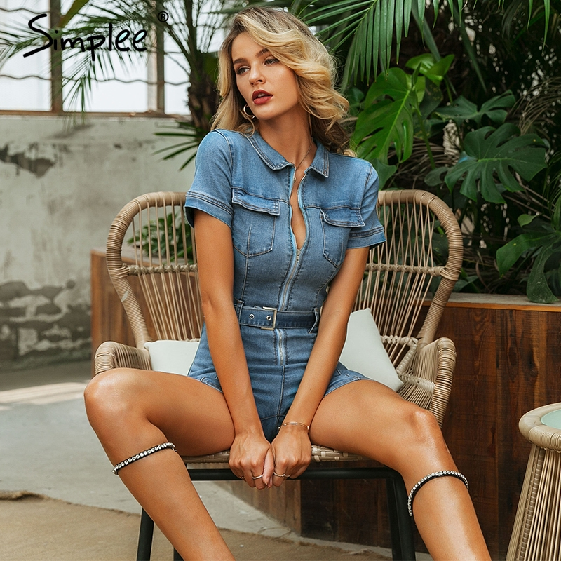 Simplee Sexy Deep V-neck Denim Women Playsuit Short Sleeve Belt Zipper Short Jumpsuit Chic Party Club Ladies Jeans Overalls 2019