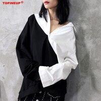 Streetwear White Black Loose oversized Women Blouse Elegant style Work to wear Office Lady Patchwork Blouse
