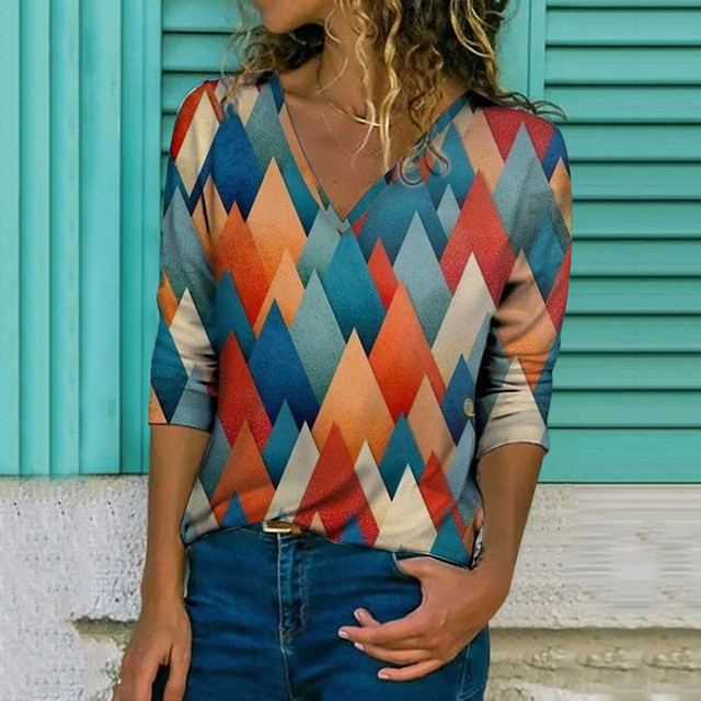 Autumn Women's Blouse Creative V-neck Geometric Printed Shirts Fashion Casual Long Sleeve Loose Female Tops Blouse Blusas 1