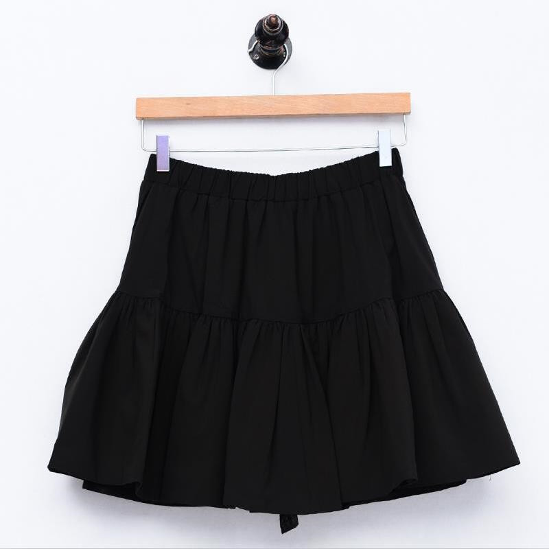 Women Japan Style Sweet Girl Solid Cotton Mini Skirts Yellow Black Pink Plus Size Women Skirts 5XL 6XL 7XL Ruffles Vestidos