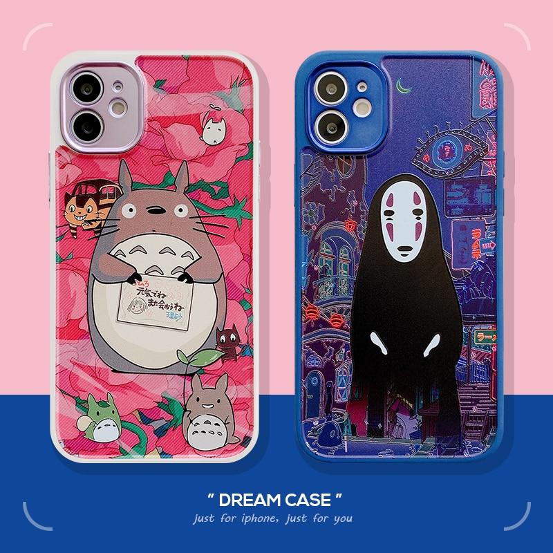 Anime totoro caso do telefone para iphone 12mini se 2020 7 8 plus xr xs 11pro max lente finae buraco protectio borda reta silicone caso