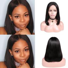 Bob Wig Human-Hair High-Density Short Lace-Part Glueless Straight Women Brazilian Wignee