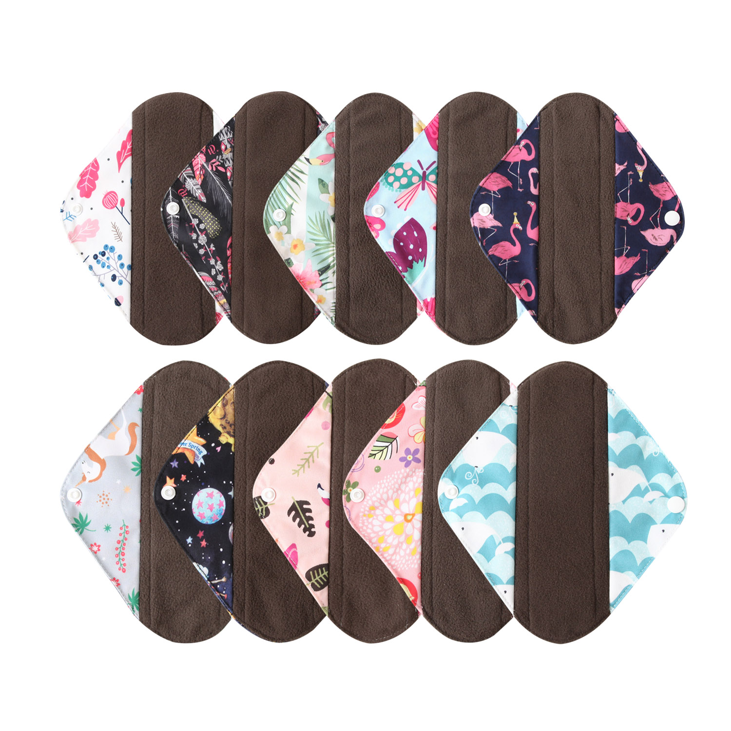 Ohbabyka S M L Long Panty Liner Cloth Menstrual Pad Bamboo Charcoal Mama Sanitary Reusable Sanitary Pads Reusable Washable