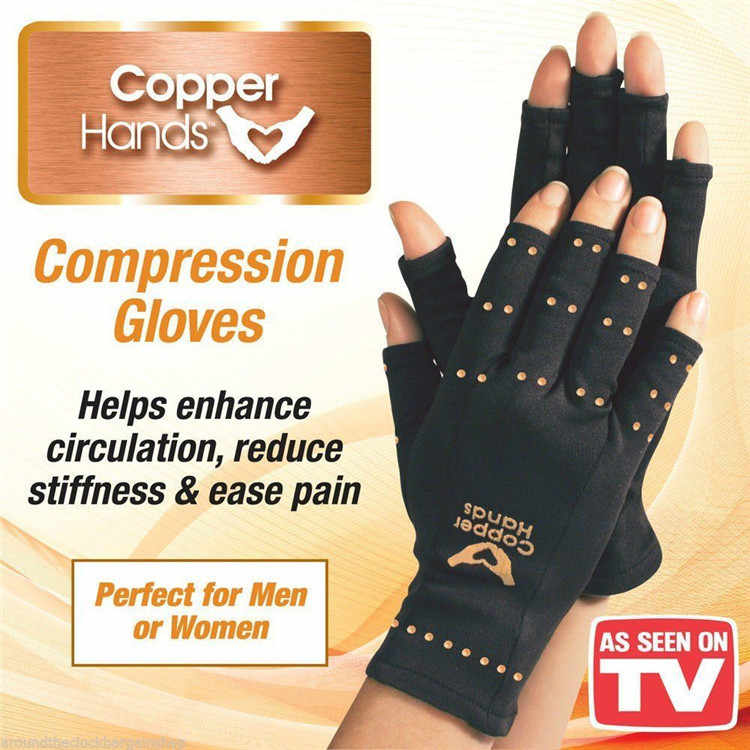 1Pair Compression Anti-Arthritis Gloves Spandex Fingerless Wrist Support Joint Pain Relief Massage Gloves Sports Safety Health