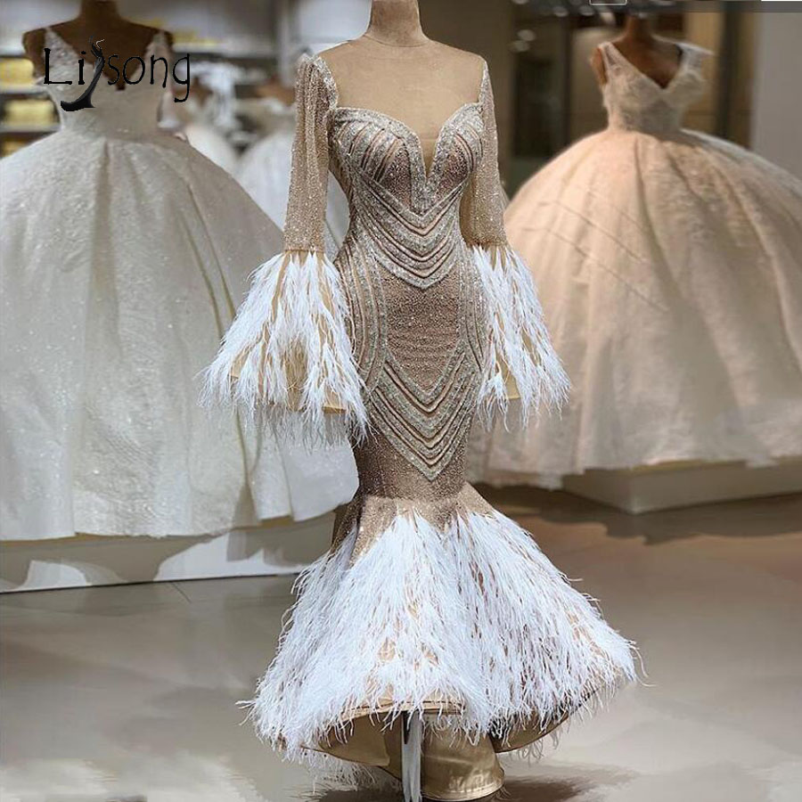 Real Image Luxury Mermaid Feather Evening Dresses Beaded Sequined Flare Full Sleeves Sexy Prom Gowns 2020 Formal Dress