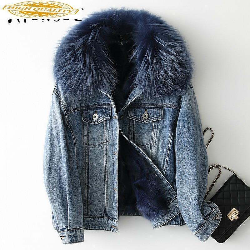 Real Fur Coat Women Fox Fur Coat Korean Winter Coat Women Real Raccoon Fur Collar Warm Parka Manteau Femme KQN68651 YY1603