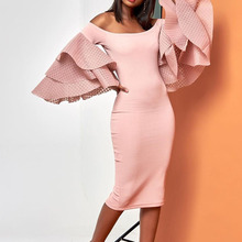 Women Spring Summer Sheath Pink Ruffle Long Sleeve