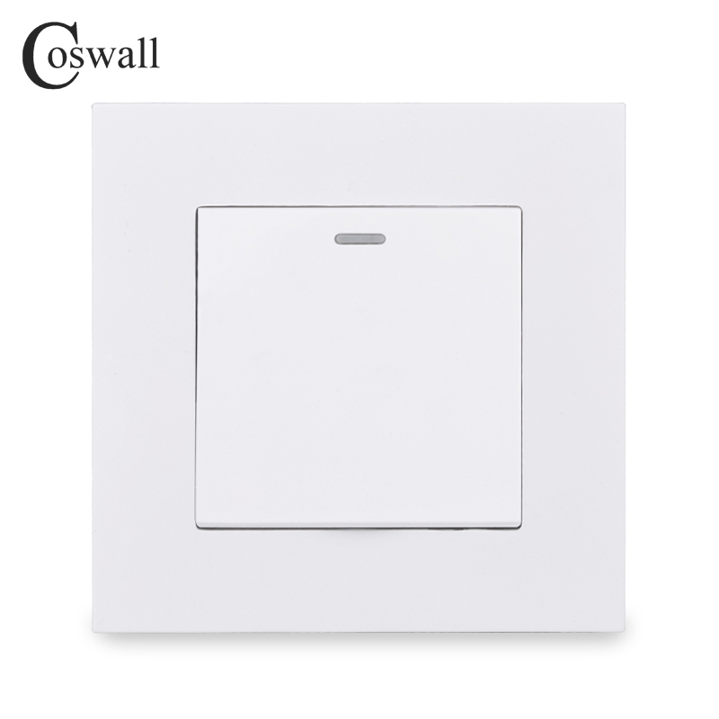 COSWALL Simple Style PC Panel 1 Gang 1 Way On / Off Light Switch Wall Rocker Switch White Black Grey Gold Color AC 90-250V 16A