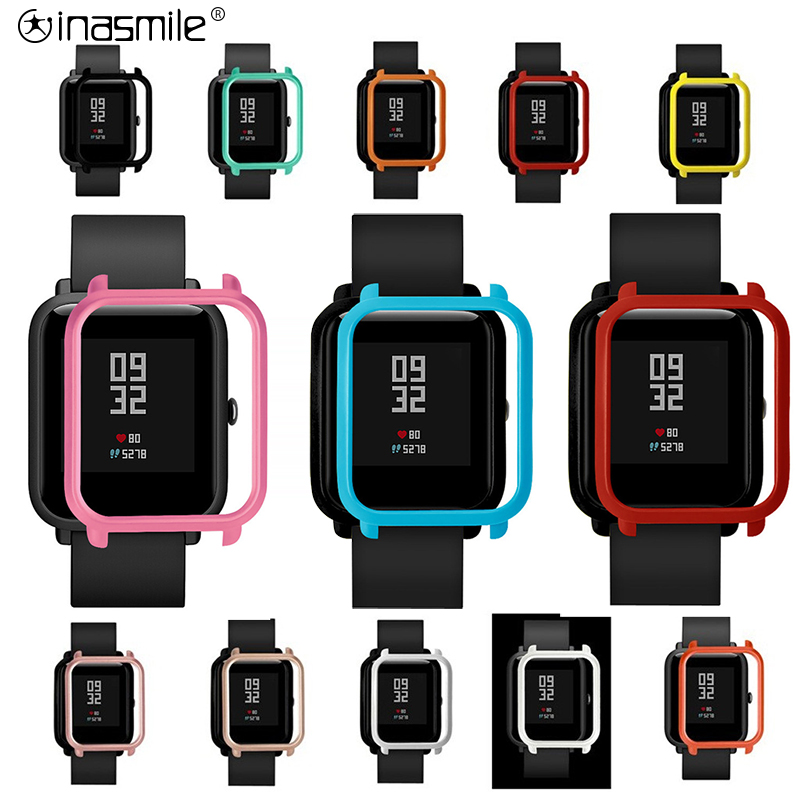 Inasmile Stylish Cover+ 2pcs Screen Protector For Xiaomi Correa Amazfit Bip Strap Pulseira Amazfit Bip  ремешок Case Accessories