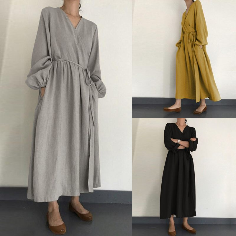 ZANZEA Plus Size Women Solid Dress Long Vestidos With Belt Casual Long Sleeve One Piece Dress Elegant Office Ladies Work Vestido
