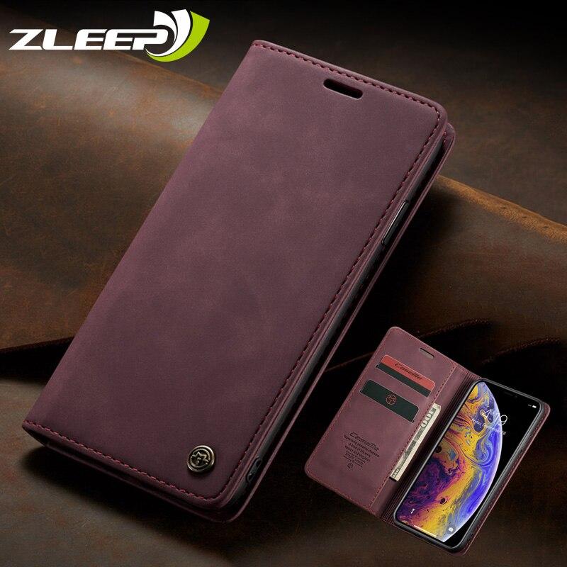 Магнитный чехол для iPhone 7 8 6 6s Plus 5 5s SE, роскошный кожаный чехол для iPhone 11 Pro XS Max XR X с откидной крышкой и подставкой Чехлы-книжки      АлиЭкспресс