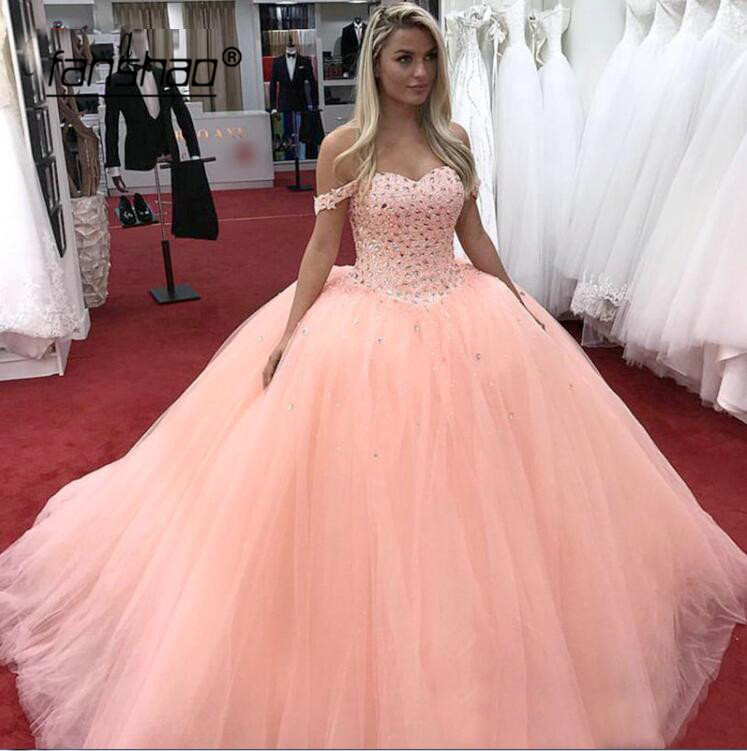 2019 Quinceanera Dresses Crystals Beads Ball Gown Sparkly Sweet 16 Year Princess Dresses For 15 Years Vestidos