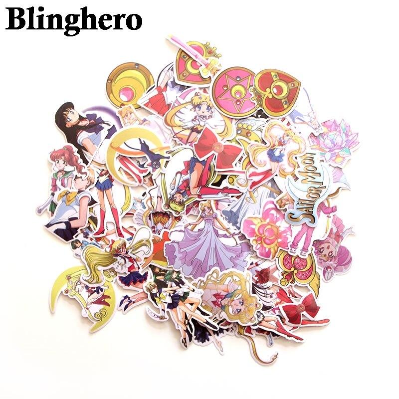 CA81 56pcs/set Sailor Moon Sticker Cartoon Sticker For Hand Account Cute Skateboard Luggage Decal Sticker Laptop Sticker