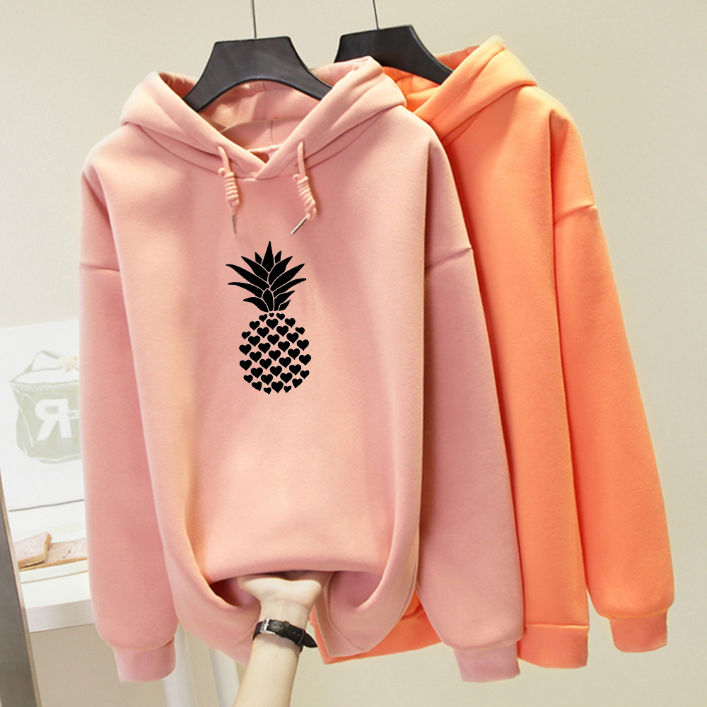 Winter Punk Streetwear Hip Hop Sweatshirts Ladies Kpop Harajuku Hoodies Women Pineapple Printed Heart-shaped Cute Creative