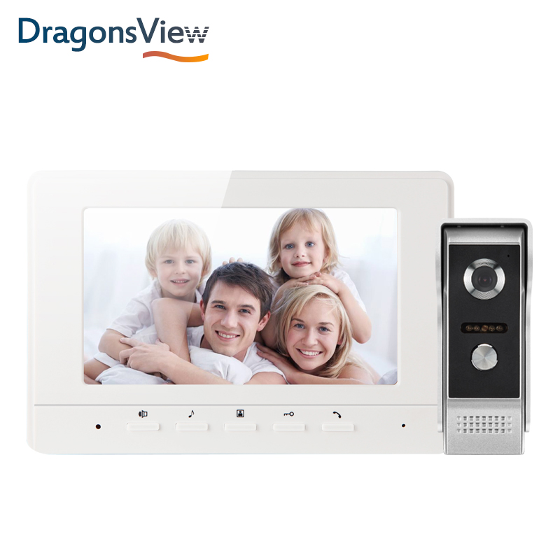 Dragonsview 7 Inch 1000 TVL Video Door Intercom System White Black Video Door Entry Panel Intercoms For Private Home Call Panel