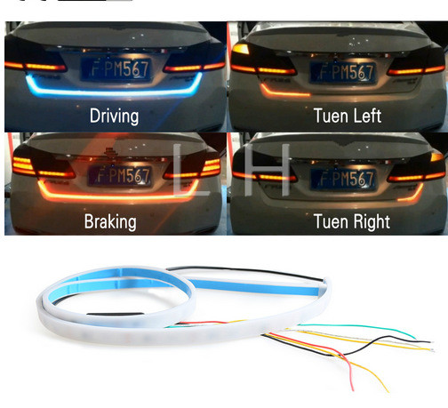 car-styling yellow turn signal led trunk strip Light for car Tail Tailgate flash follow LED