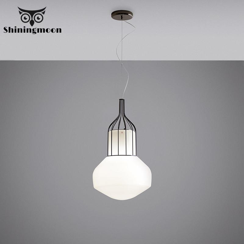 Nordic Minimalism White Glass Rose Gold Pendant Lights Post Modern Creativity Living Room Pendant Lamp Luminaria Light Fixture