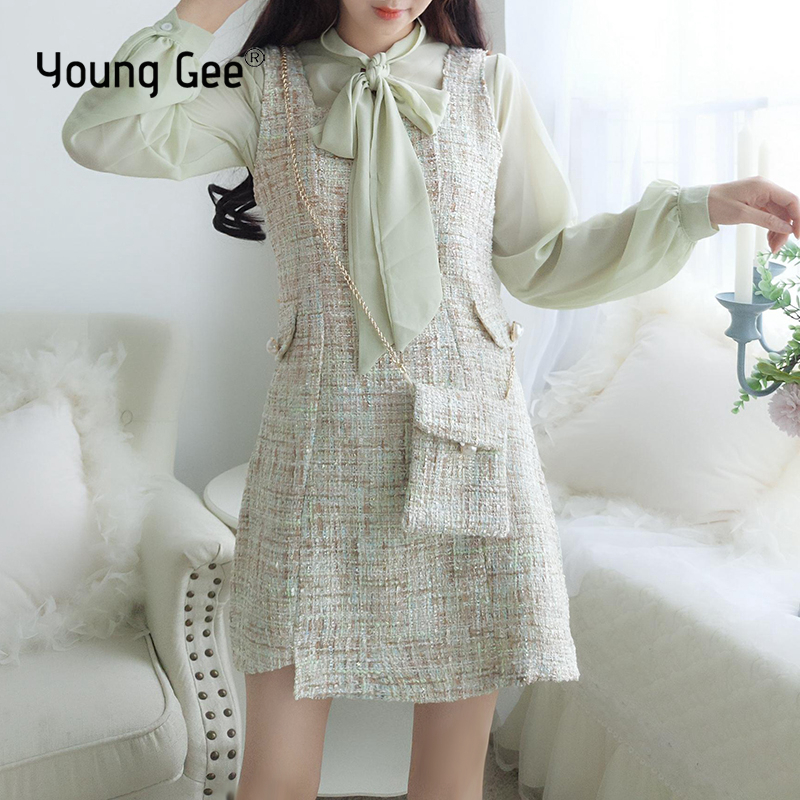 Young Gee Women Two Piece Set Bow Collar Lantern Sleeve Top + Tweed Vest Mini Dress Tracksuit Office Lady 2 Piece Sets With Bags