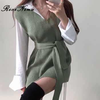 RICININA Knitted Vest Women Sweater Sleeveless V Neck Sashes Bandage Solid Elegant Sweaters Women Pullovers Jumpers Woman 2020