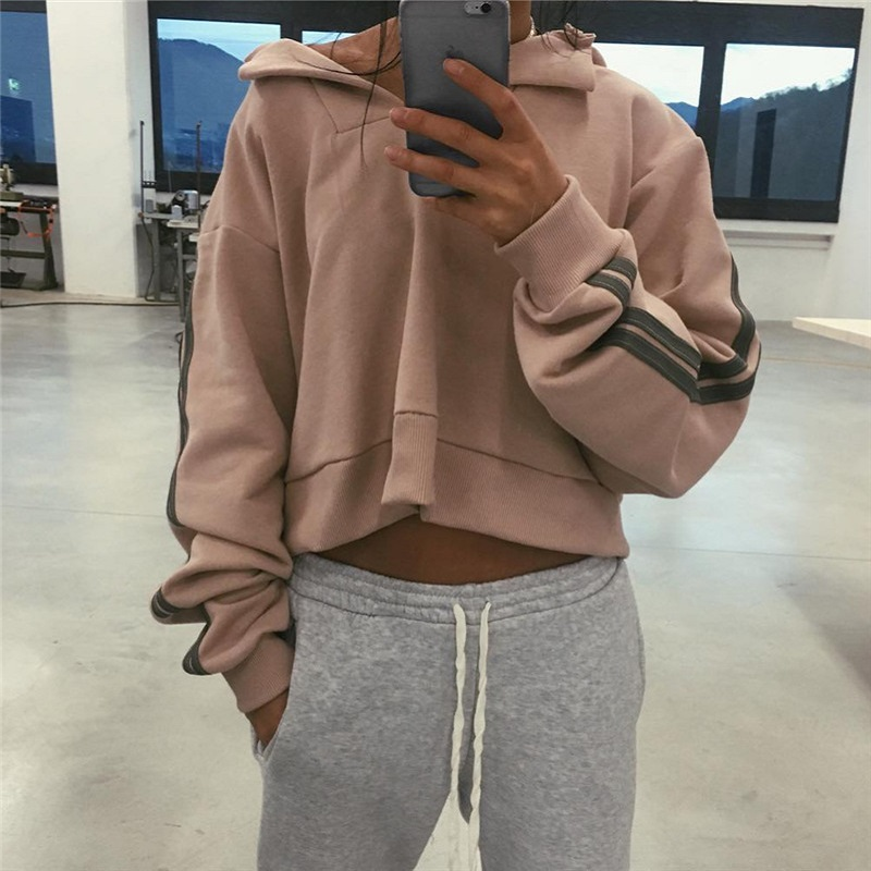ICozzier Women Bowknt Long Sleeve Hoodies Round Neck Crop Tops Pink Short Sweatshirts Spring Outfits Fashion