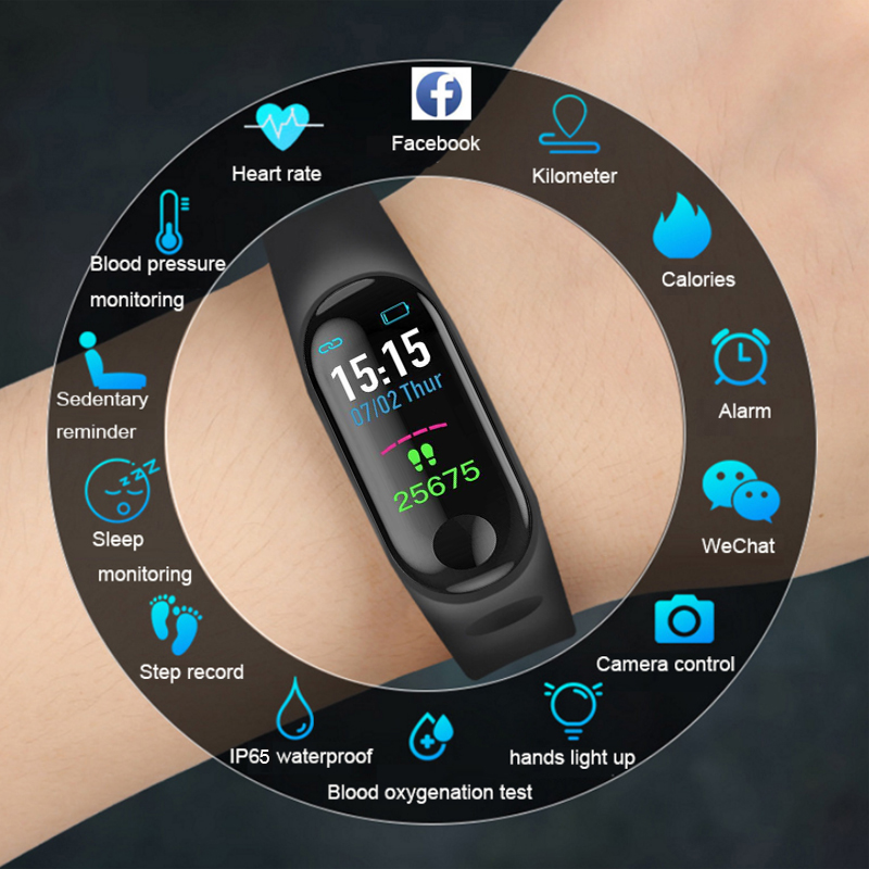 M3 Color Screen Smart Watch Heart Rate Blood Pressure Monitoring Fitness Tracker Step Counter Bluetooth Smart Watch Sport Writb in Smart Watches from Consumer Electronics