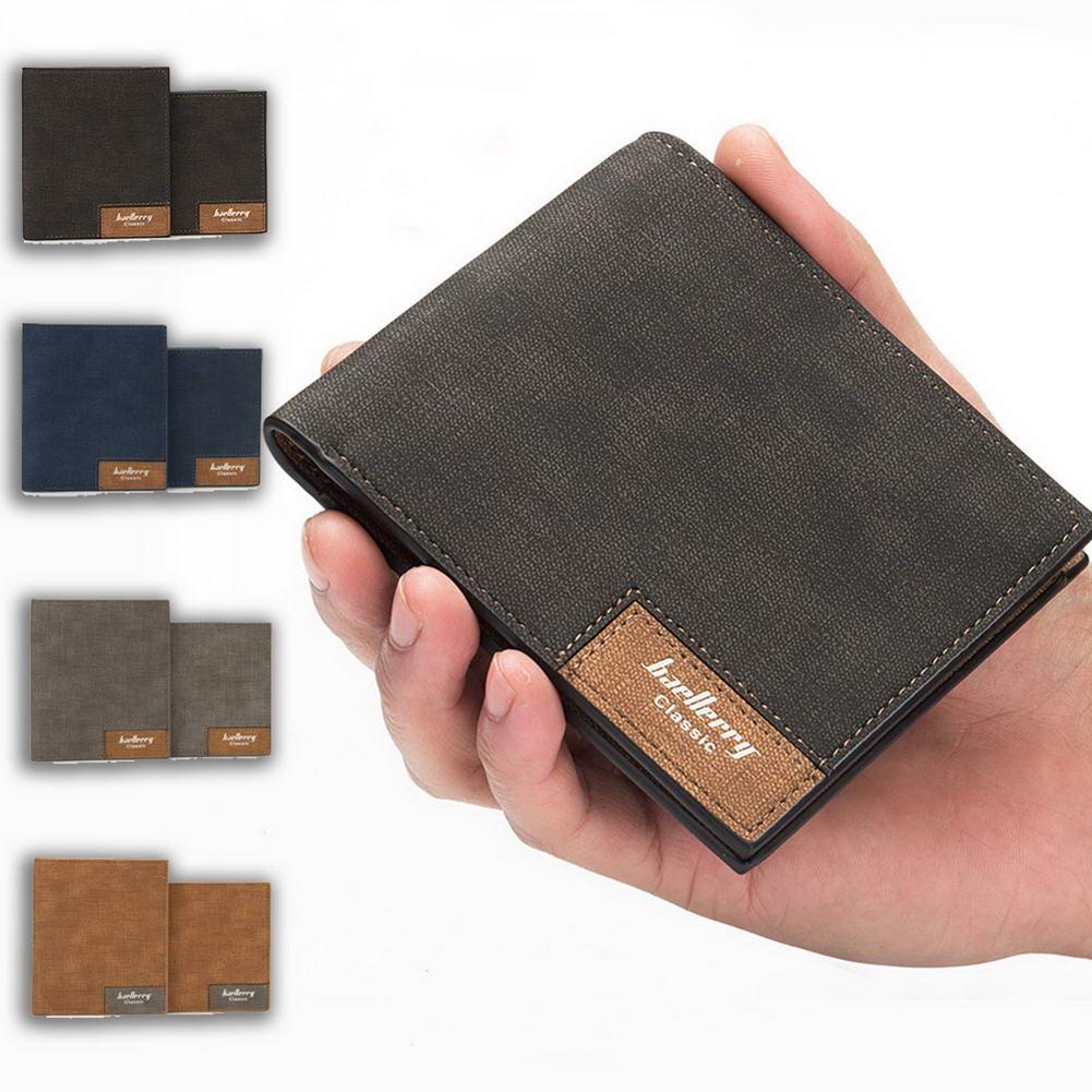 Bifold Slim Wallet for Men PU Leather Lightweight Card Holder Short Purse C55